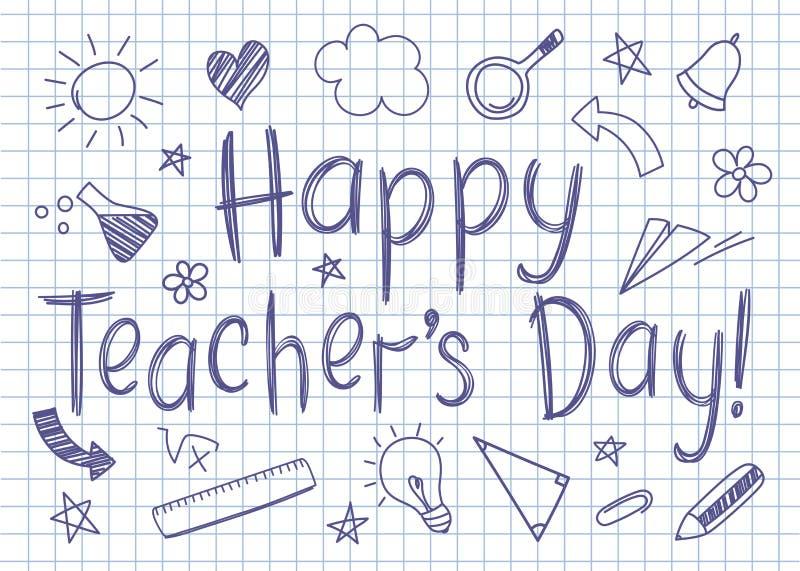 Tarjeta de felicitación feliz del día de los profesores en la hoja ajustada del cuaderno en estilo incompleto ilustración del vector