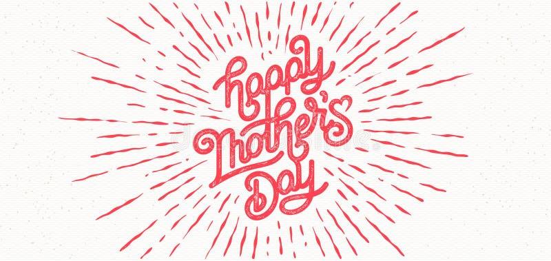 Tarjeta de felicitación feliz del día de madres Ejemplo del vector del día de fiesta con la composición de las letras y la etique ilustración del vector