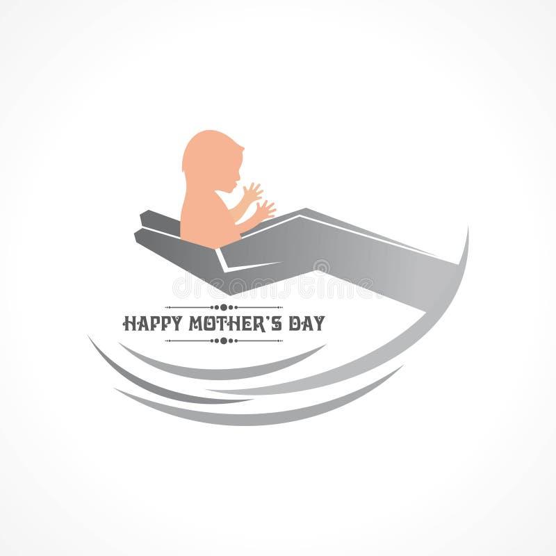 Tarjeta de felicitación feliz del día del ` s de la madre stock de ilustración