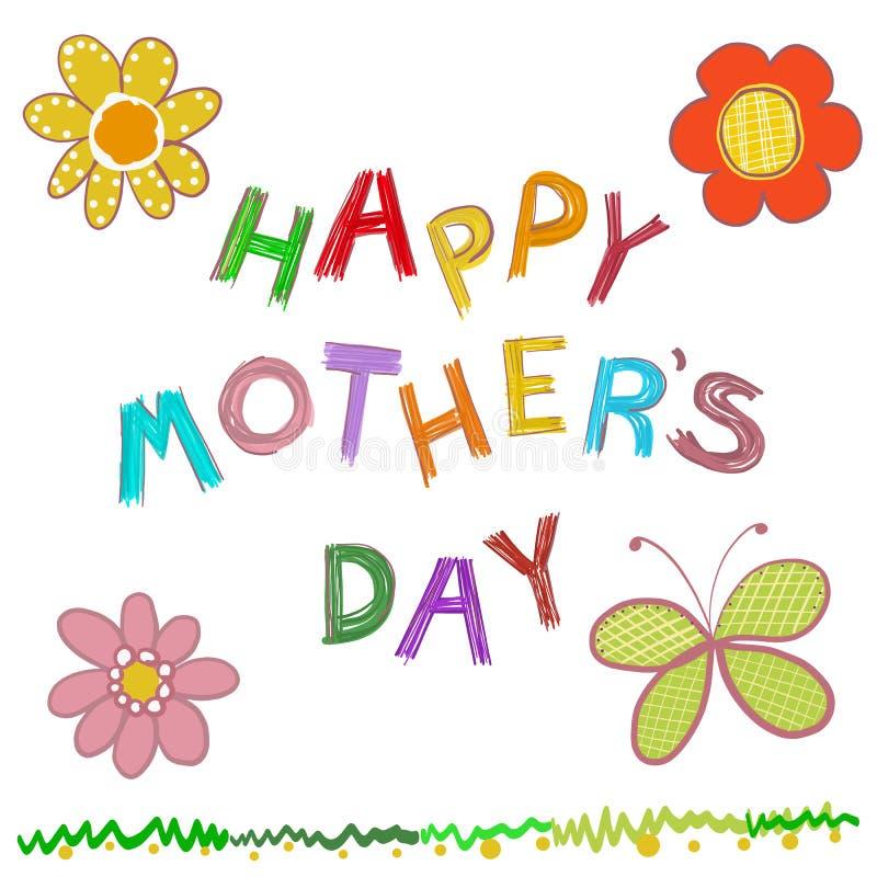 Tarjeta de felicitación feliz del día del ` s de la madre Garabatee el texto dibujado mano `` de la madre de las flores del día f stock de ilustración