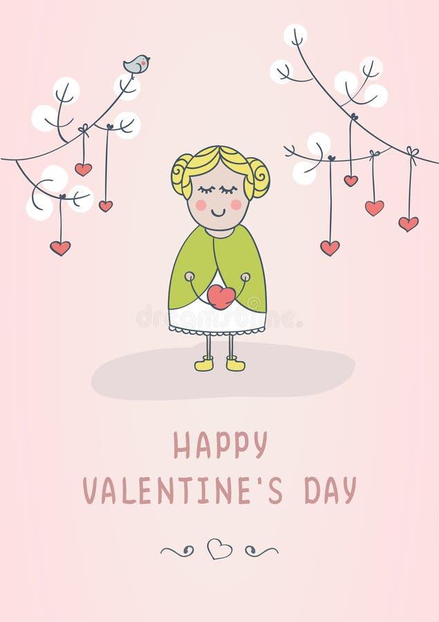 Tarjeta de felicitación feliz del día del ` s de la tarjeta del día de San Valentín con la muchacha linda imagen de archivo