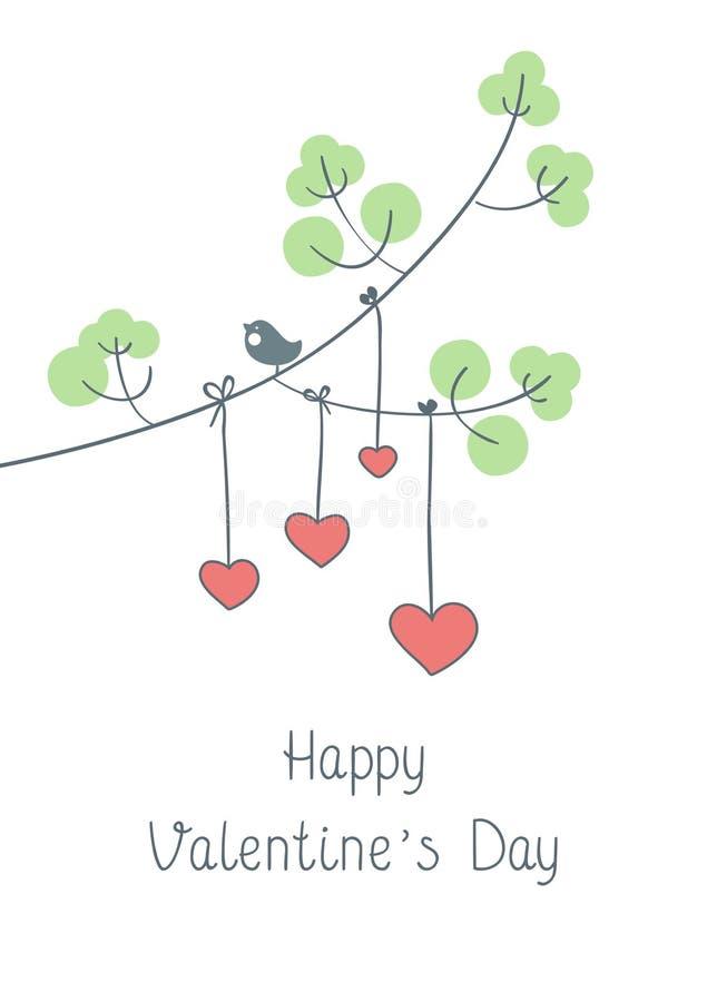 Tarjeta de felicitación feliz del día del ` s de la tarjeta del día de San Valentín con la muchacha linda imagen de archivo libre de regalías