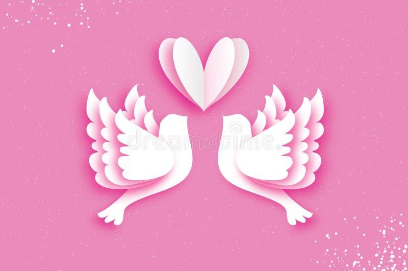 Tarjeta de felicitación feliz del día del ` s de la tarjeta del día de San Valentín de la papiroflexia Pájaros del amor del vuelo libre illustration