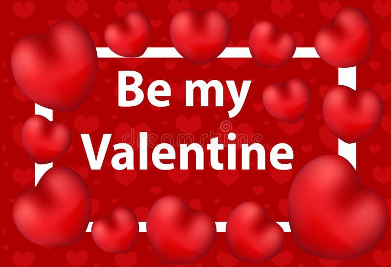 Tarjeta de felicitación feliz del día del `s de la tarjeta del día de San Valentín Sea mi modelo de la tarjeta del día de San Val ilustración del vector