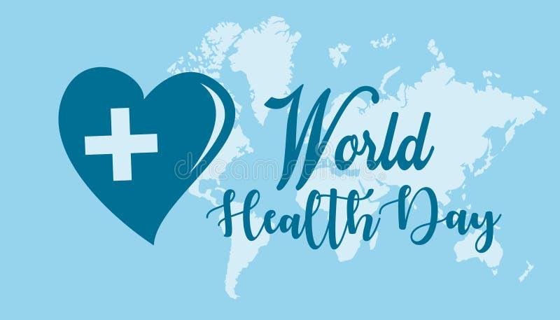 Tarjeta de felicitación feliz del día de salud de mundo, contra la perspectiva del mundo y azul claro ilustración del vector