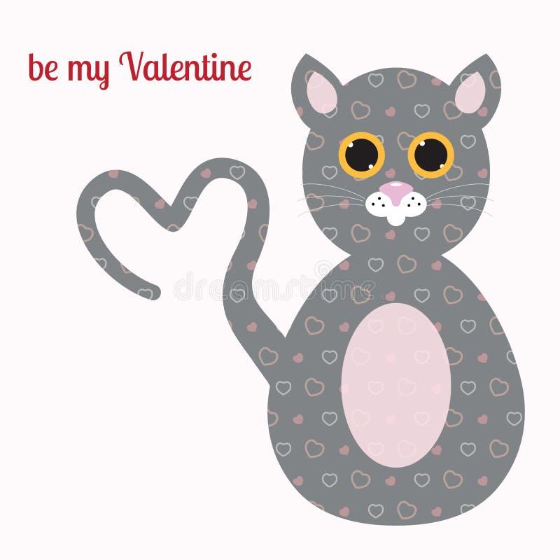 Tarjeta de felicitación feliz del día de tarjetas del día de San Valentín Gato lindo con una cola en fotografía de archivo