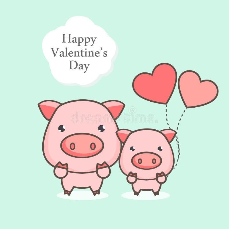 Tarjeta de felicitación feliz del día de tarjetas del día de San Valentín Historieta linda del cerdo con el globo del corazón stock de ilustración