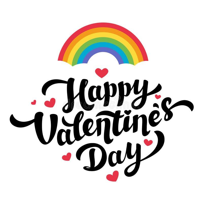 Tarjeta de felicitación feliz del día de tarjetas del día de San Valentín de la comunidad de Lgbt Arco iris, corazón y letras de  stock de ilustración