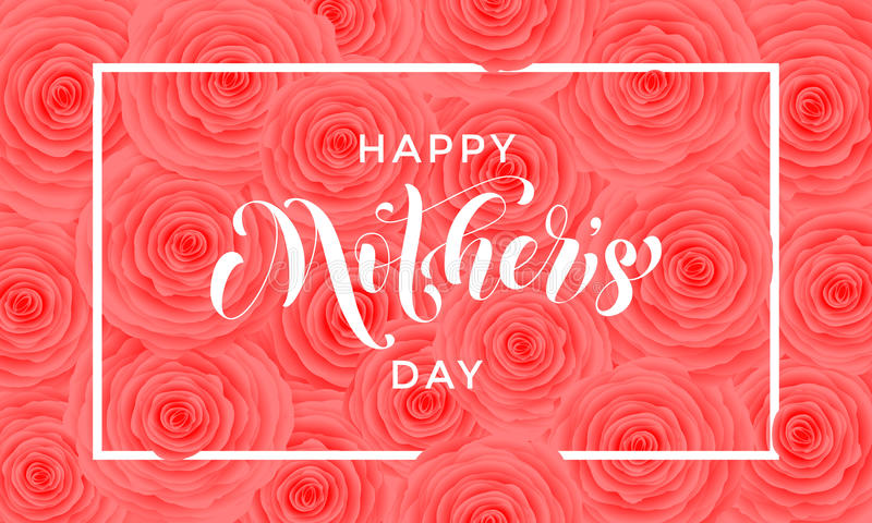 Tarjeta de felicitación feliz del vector del modelo de flores del rosa del día de la madre stock de ilustración