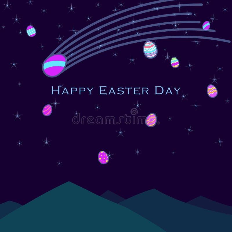 Tarjeta de felicitación feliz divertida y colorida de Pascua con el ejemplo de huevos, y del texto ilustración del vector