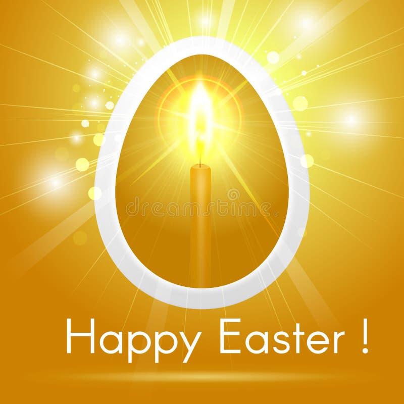 Tarjeta de felicitación feliz festiva de Pascua con el huevo de oro estilizado con ilustración del vector