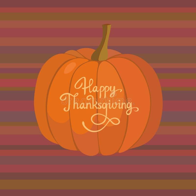 Tarjeta de felicitación feliz de la acción de gracias Backgound del vector de la calabaza de otoño stock de ilustración