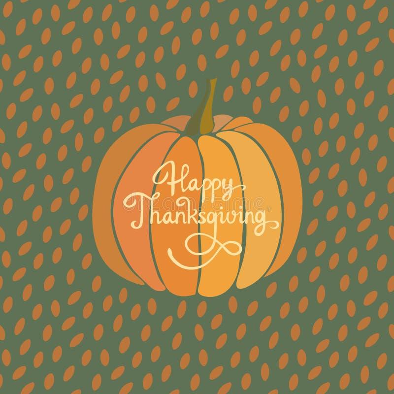 Tarjeta de felicitación feliz de la acción de gracias Backgound del vector de la calabaza de otoño libre illustration