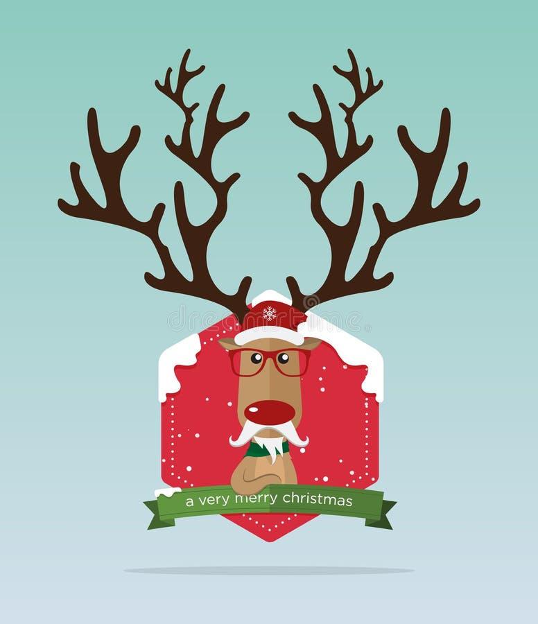 Tarjeta de felicitación feliz de la Feliz Navidad Situación roja de la nariz del reno delante de la insignia de la Navidad Decora ilustración del vector