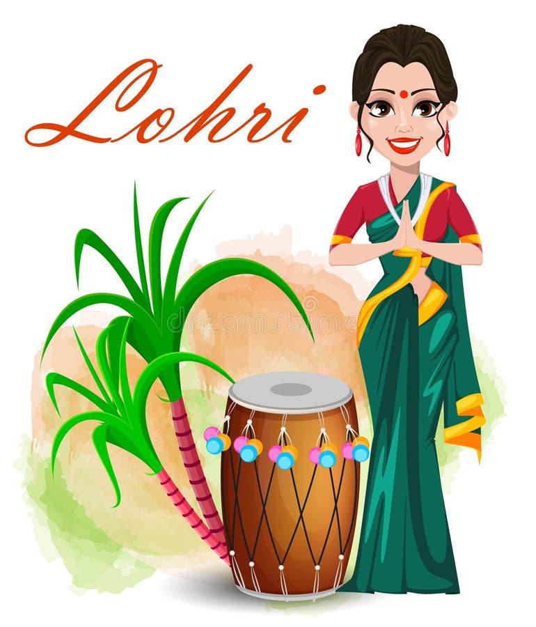 Tarjeta de felicitación feliz de Lohri con la muchacha hermosa que coloca el tambor cercano ilustración del vector