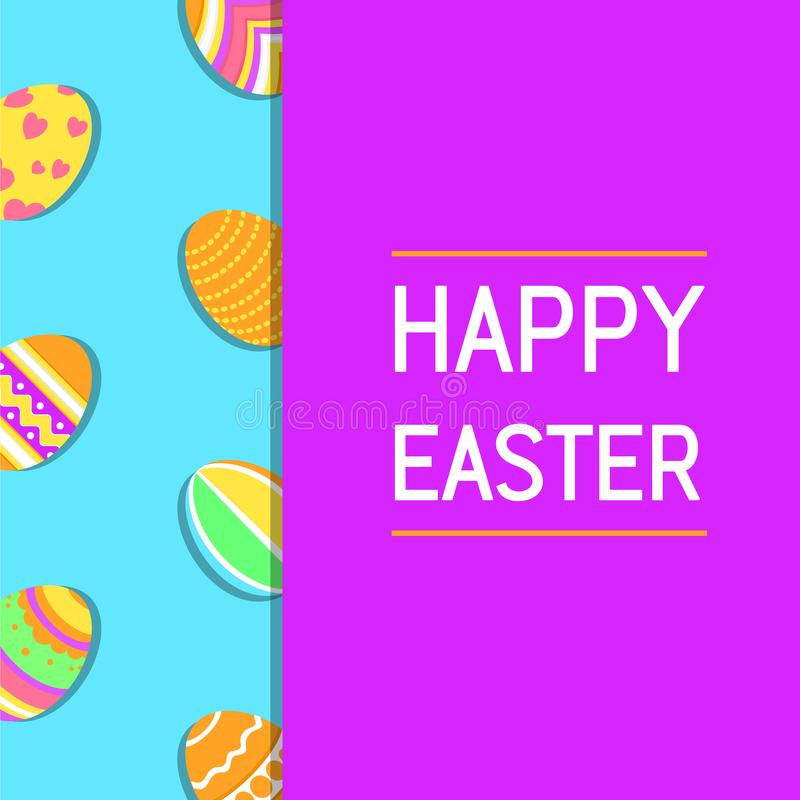 Tarjeta de felicitación feliz moderna, simple, divertida y colorida de Pascua con el ejemplo de huevos y del texto libre illustration