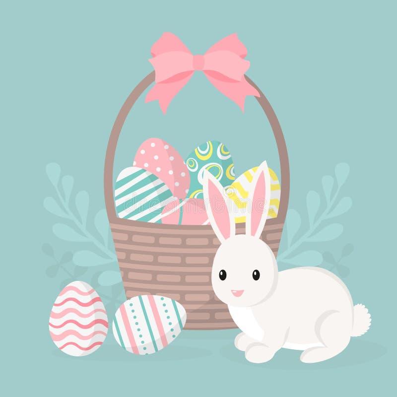 Tarjeta de felicitación feliz de pascua, cartel con el conejito lindo Conejo y cesta con los huevos de Pascua stock de ilustración