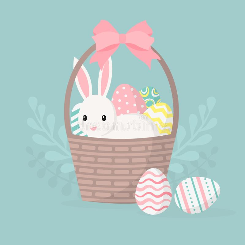 Tarjeta de felicitación feliz de pascua, cartel con el conejito lindo Conejo y cesta con los huevos de Pascua Ilustración del vec stock de ilustración