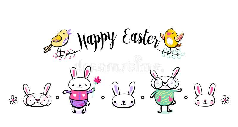 Tarjeta de felicitación feliz de Pascua, cartel, con el conejito y los caracteres lindos, dulces, frescos del polluelo Ejemplo de libre illustration