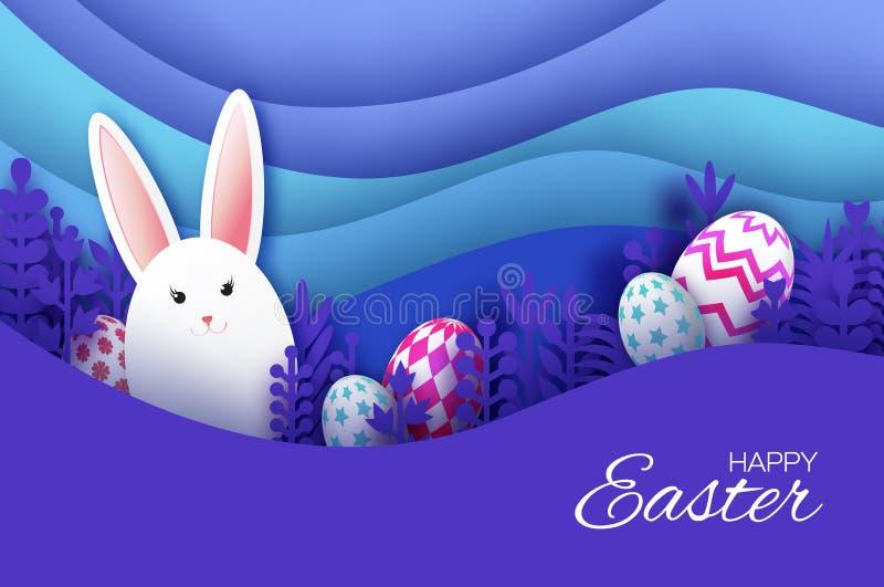 Tarjeta de felicitación feliz de Pascua con el conejo de conejito cortado de papel, flores de la primavera, huevos coloridos Pais ilustración del vector