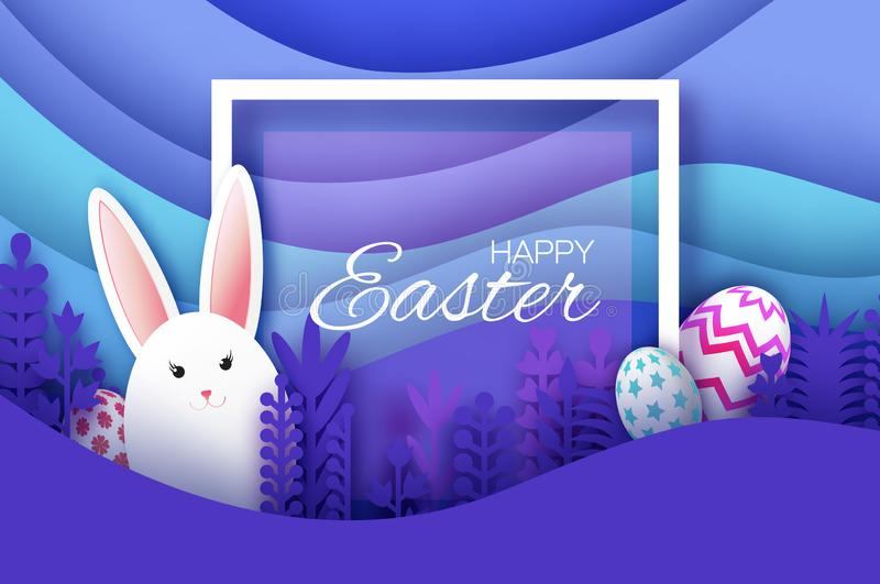 Tarjeta de felicitación feliz de Pascua con el conejo de conejito cortado de papel, flores de la primavera Huevos Paisaje acodado libre illustration