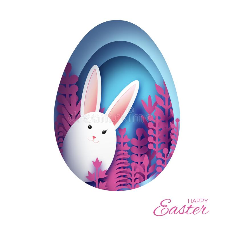 Tarjeta de felicitación feliz de Pascua con el conejo de conejito cortado de papel, flores rosadas de la primavera Marco azul de  libre illustration