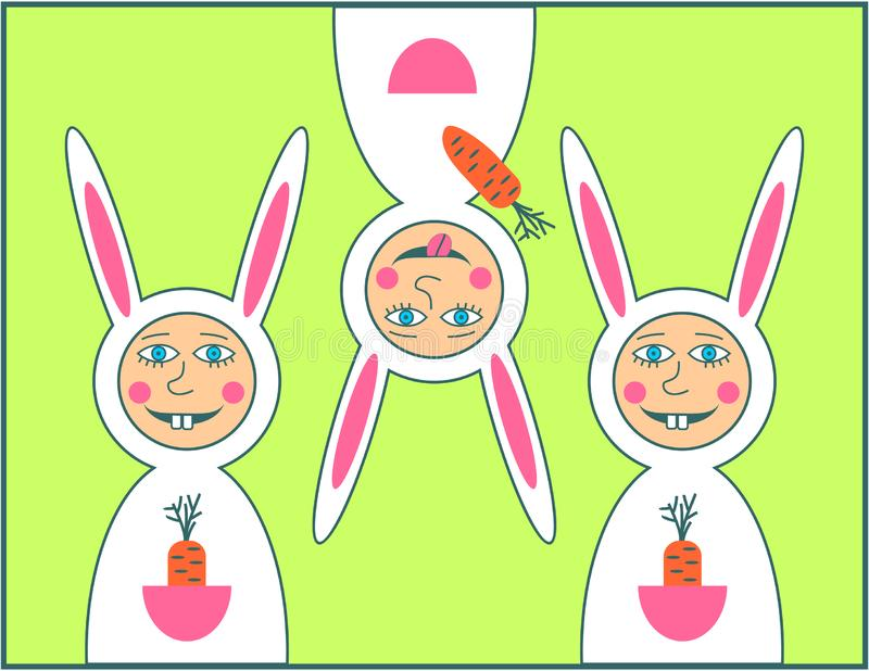 Tarjeta de felicitación feliz de Pascua con el muchacho del conejo imagen de archivo