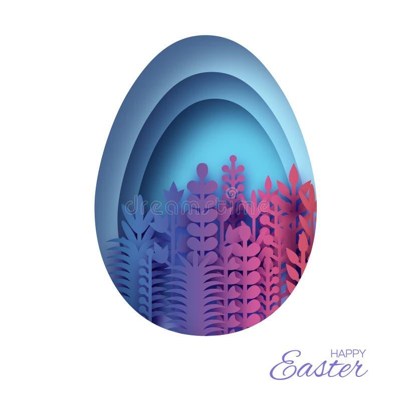 Tarjeta de felicitación feliz de Pascua con las flores cortadas de papel de la primavera Marco azul de la forma del huevo Lugar p ilustración del vector