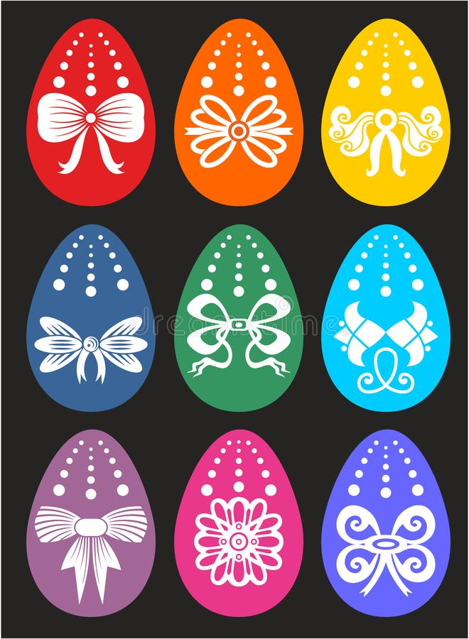 Tarjeta de felicitación feliz de Pascua con muchos huevos imagenes de archivo