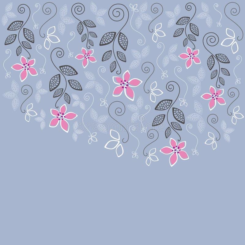 Tarjeta de felicitación floral azul y rosada stock de ilustración