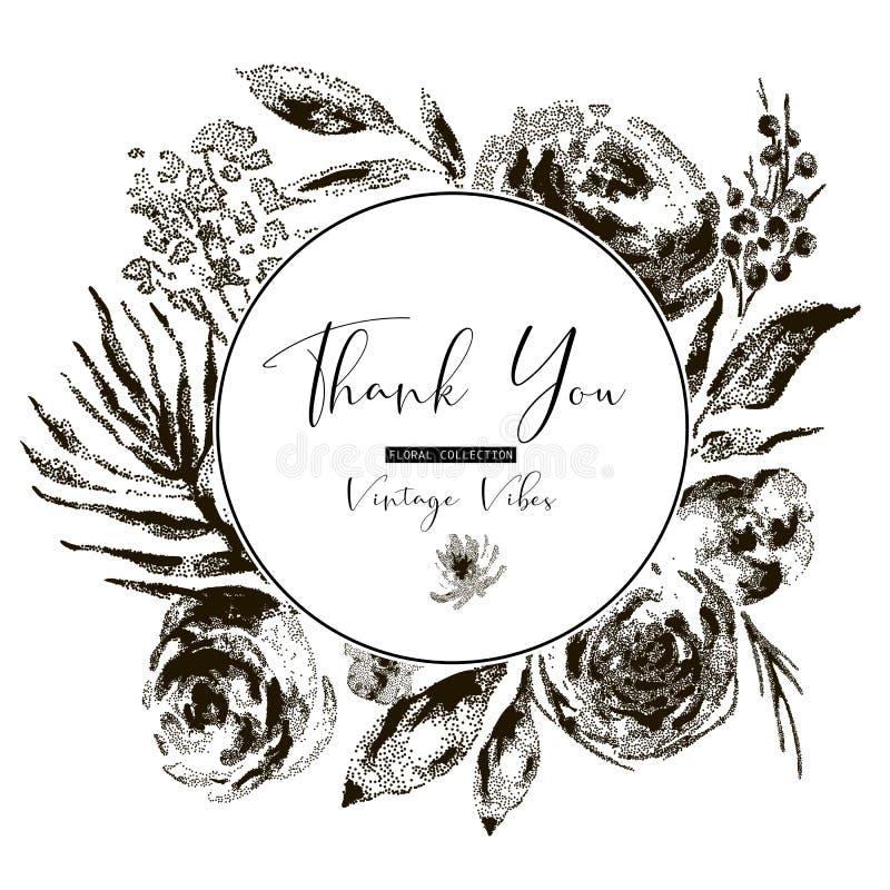 Tarjeta de felicitación floral blanco y negro del vintage del vector, flores ilustración del vector