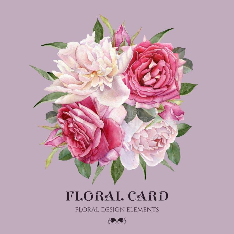 Tarjeta de felicitación floral con las rosas y las peonías blancas ilustración del vector