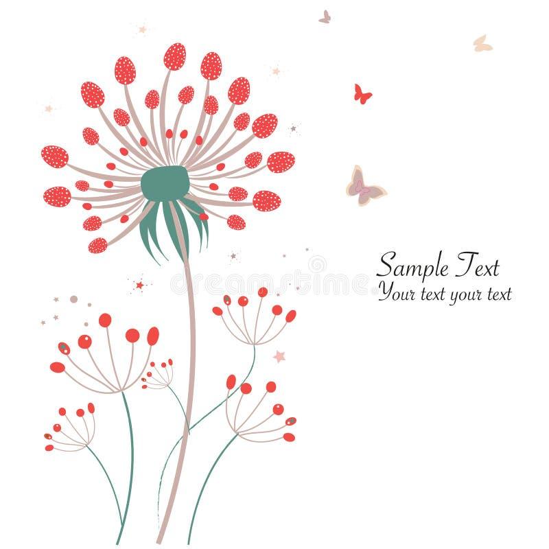 Tarjeta de felicitación floral del diente de león de la primavera ilustración del vector
