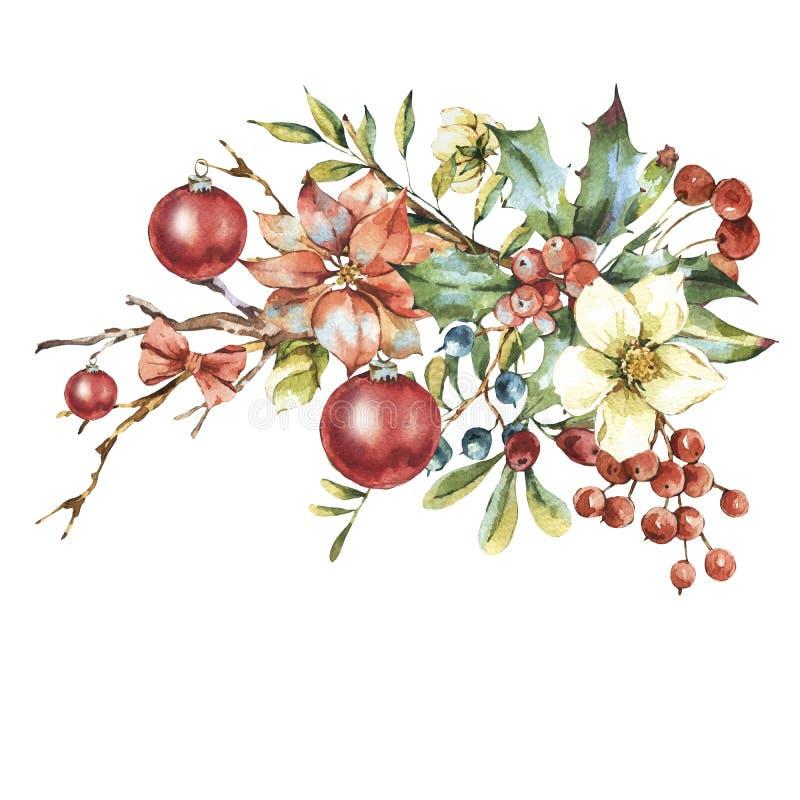 Tarjeta de felicitación floral del vintage de la acuarela, decoración del Año Nuevo libre illustration