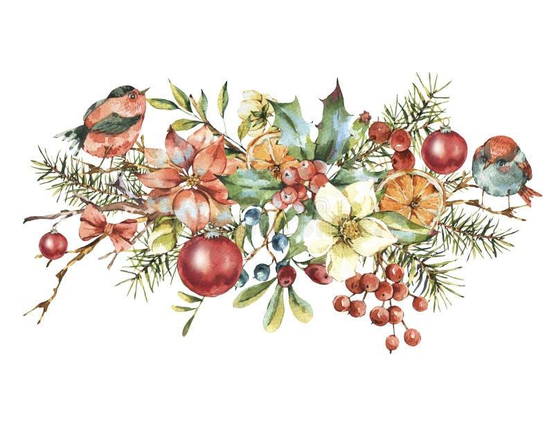 Tarjeta de felicitación floral del vintage de la acuarela, decoración del Año Nuevo ilustración del vector