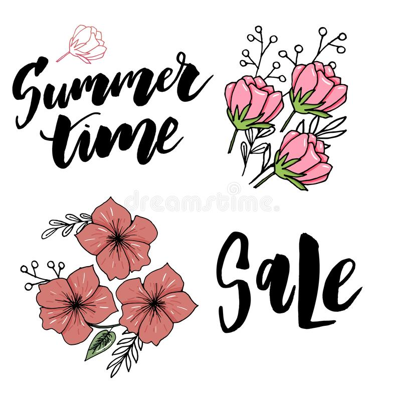 Tarjeta de felicitación floral del vintage del verano con las flores florecientes de la hortensia y del jardín, gracias ejemplo n ilustración del vector