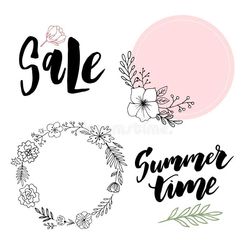 Tarjeta de felicitación floral del vintage del verano con las flores florecientes de la hortensia y del jardín, gracias ejemplo n libre illustration