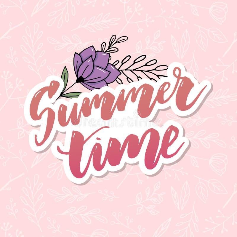 Tarjeta de felicitación floral del vintage del verano con las flores florecientes de la hortensia y del jardín, gracias ejemplo n stock de ilustración
