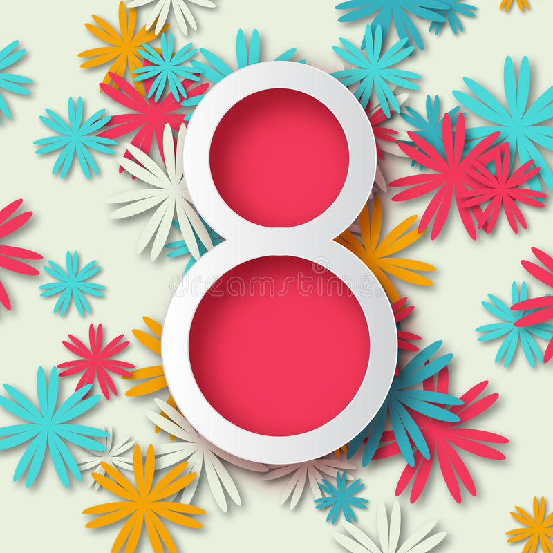 Tarjeta de felicitación floral en colores pastel abstracta - el día de las mujeres felices internacionales - 8 de marzo día de fi libre illustration