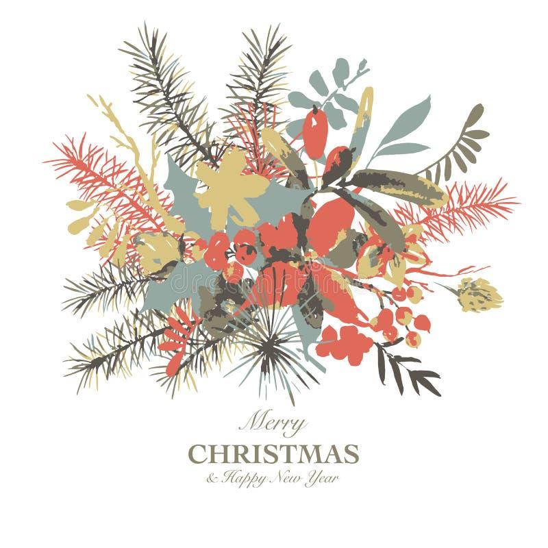 Tarjeta de felicitación floral de la acuarela del invierno con las ramas del acebo, de las flores y de las bayas libre illustration