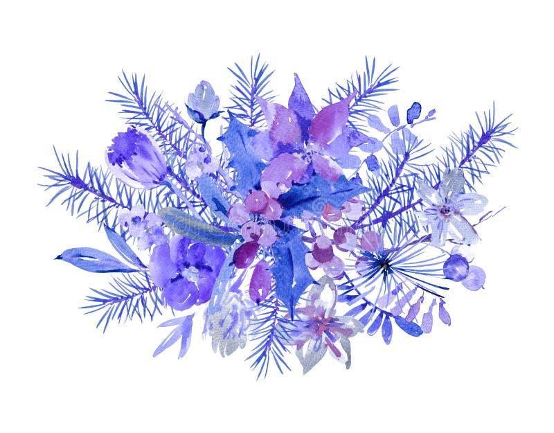 Tarjeta de felicitación floral de la Navidad de la acuarela del invierno con el branc del árbol libre illustration