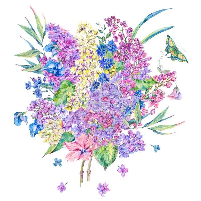 Tarjeta de felicitación floral de la primavera de la acuarela con la lila stock de ilustración