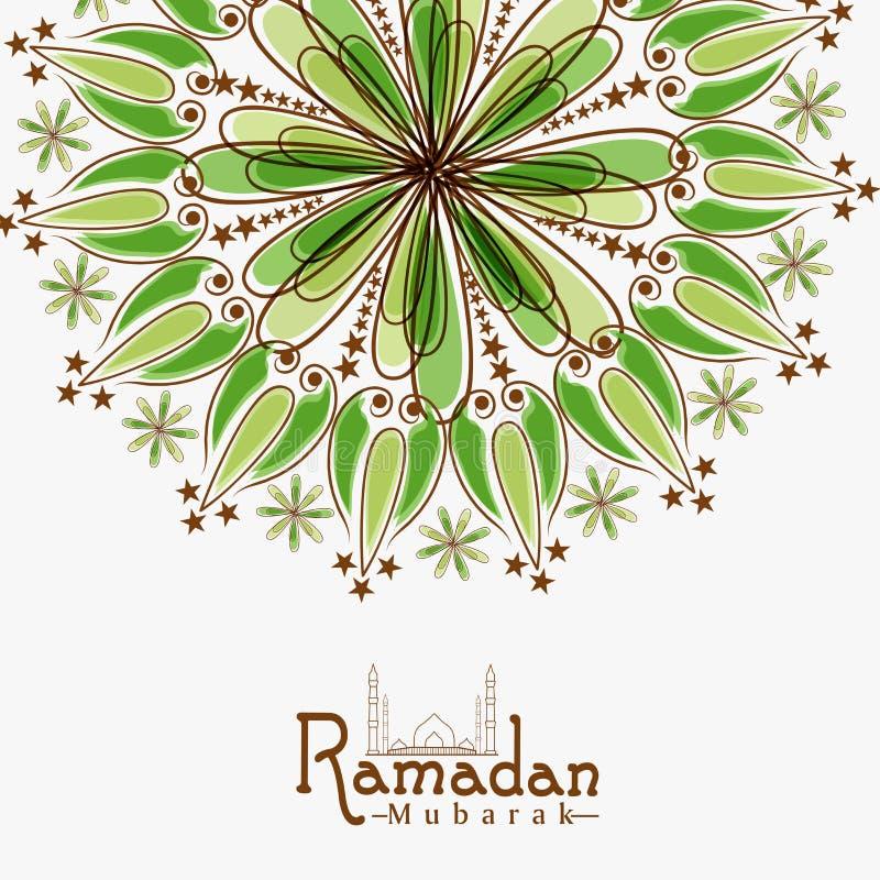 Tarjeta de felicitación floral para el mes santo, celebración de Ramadan Kareem ilustración del vector