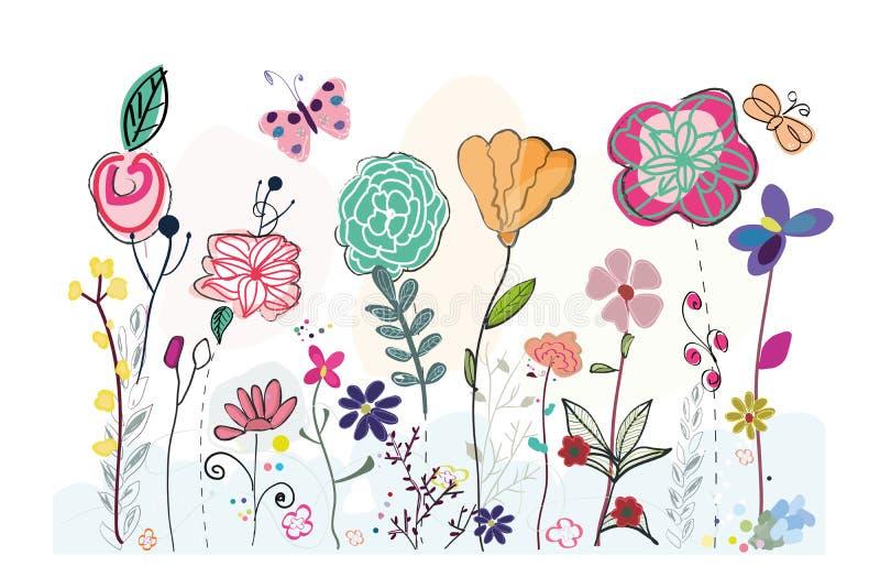 Tarjeta de felicitación floral simple exhausta colorida de la mano de campo de la primavera ilustración del vector