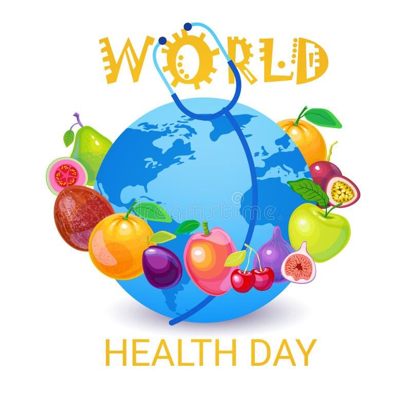 Tarjeta de felicitación global del día de fiesta del día del mundo de la salud del planeta de la tierra stock de ilustración