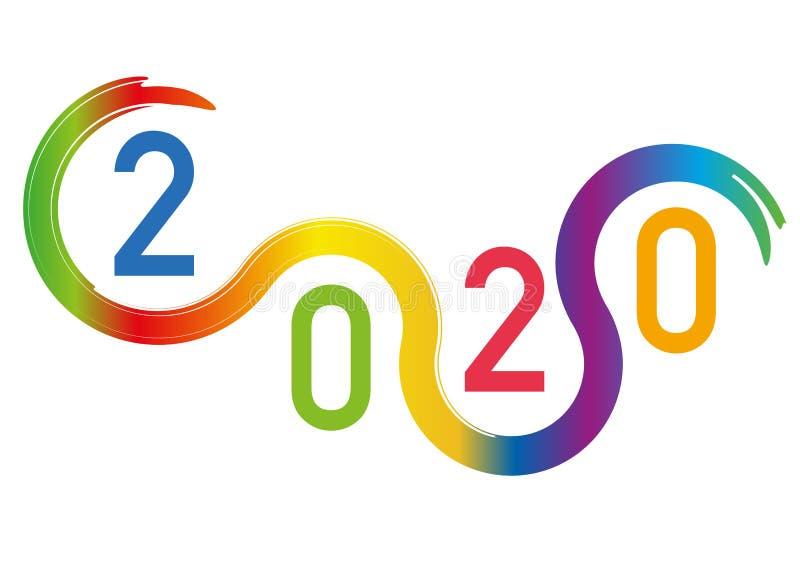 Tarjeta de felicitación gráfica basada en curvas coloreadas, para presentar el año 2020 ilustración del vector