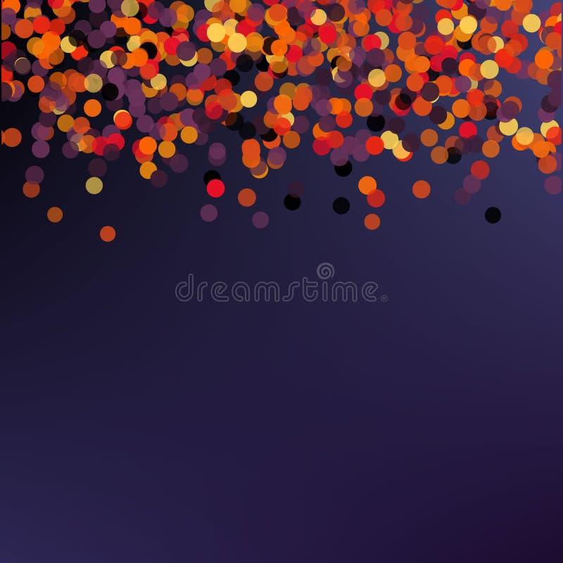Tarjeta de felicitación de Halloween - partido de Halloween Fondo del confeti del día de fiesta del vector Ejemplo elegante para  stock de ilustración