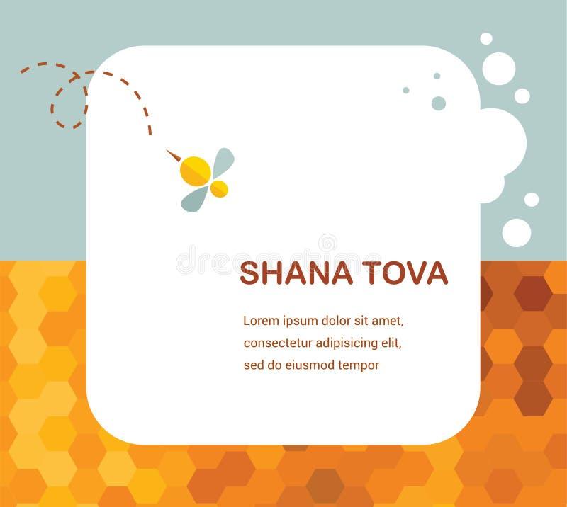 Tarjeta de felicitación (hebrea) de Rosh Hashana de la Feliz Año Nuevo con la miel que se escapa stock de ilustración