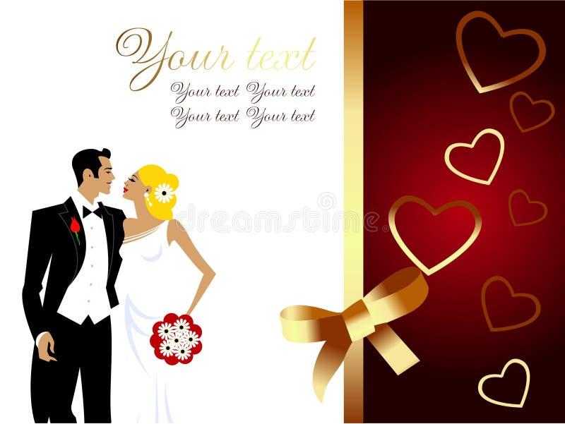 Tarjeta de felicitación hermosa de los pares de la boda libre illustration