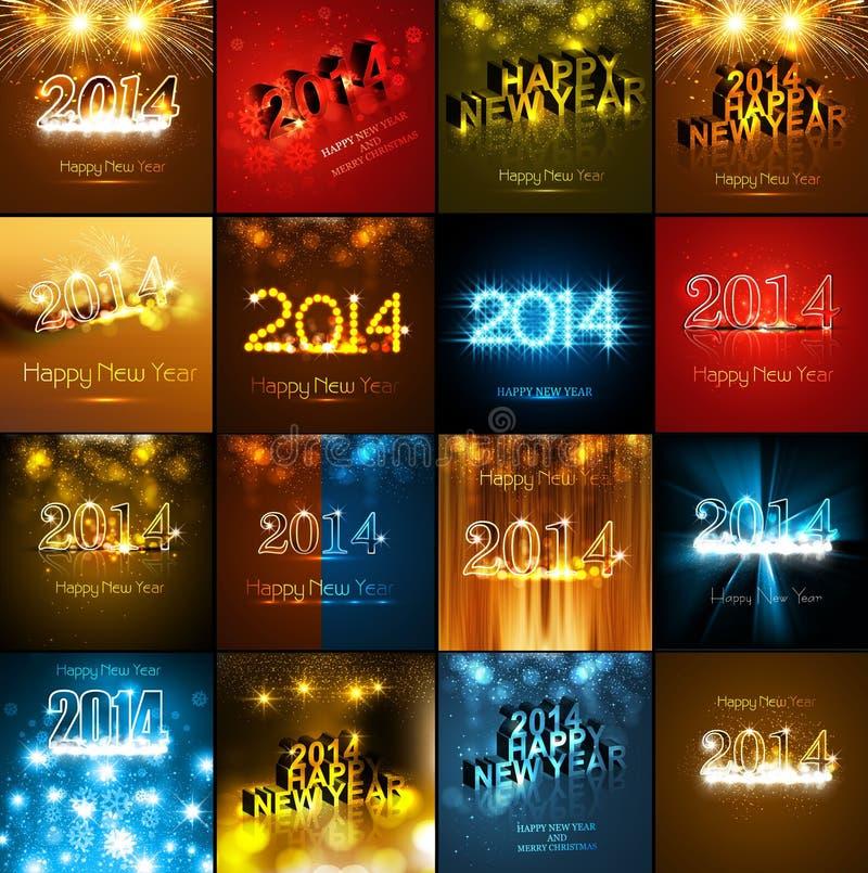 Tarjeta de felicitación hermosa del día de fiesta de la colección de la Feliz Año Nuevo libre illustration